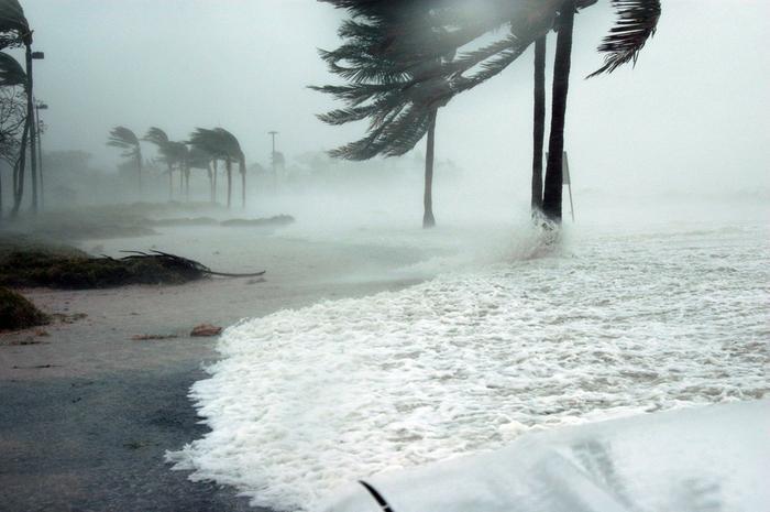 A hurricane hitting Key West, Florida.